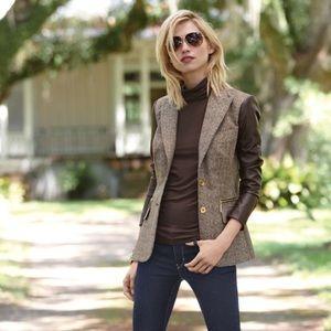 Faux Leather Sleeve Tweed Blazer